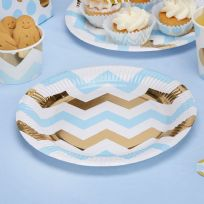 Pattern Works Blue Chevron Plates (8)